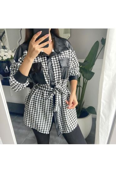 TUNIC HOUNDSTOOTH FAUX LEATHER 9809