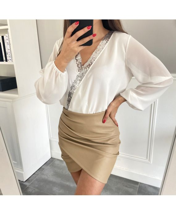 PACK 4 SKIRTS DRAPEES PU LEATHER S-M -L-XL 1926 BEIGE