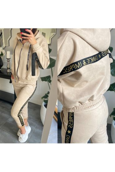 SET JACKET AND PANTS JOGG SUEDE 2859 BEIGE