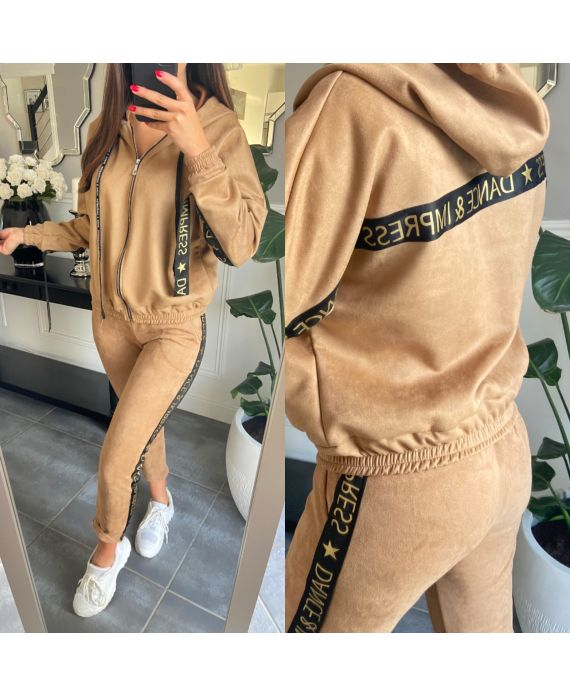 SET JACKET AND PANTS JOGG SUEDE 2859 CAMEL
