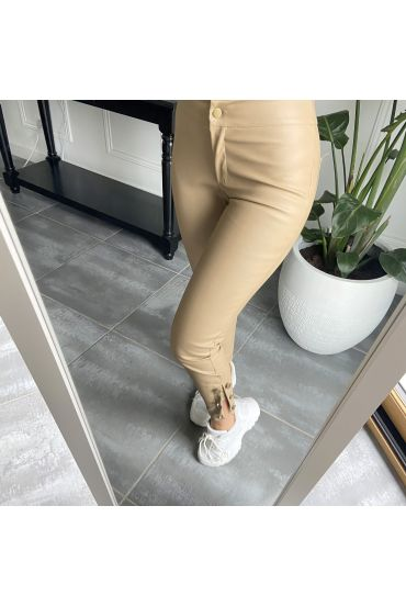 PACK OF 4 PANTS WITH FAUX LEATHER BASE HAS BUTTONS S-M-L-XL 18603 BEIGE