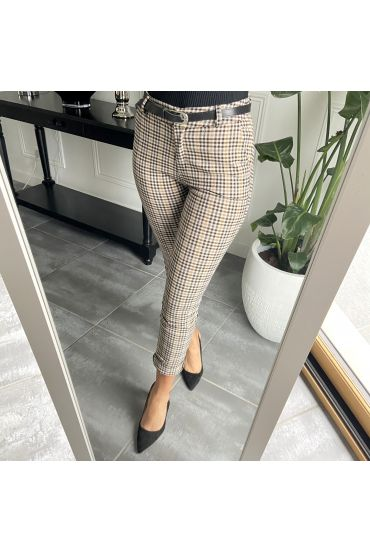 PACK 4 PANTS PLAID S-M-L-XL 3848 CAMEL