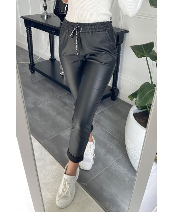 PANTS JOGGER PU LEATHER 4016 BLACK