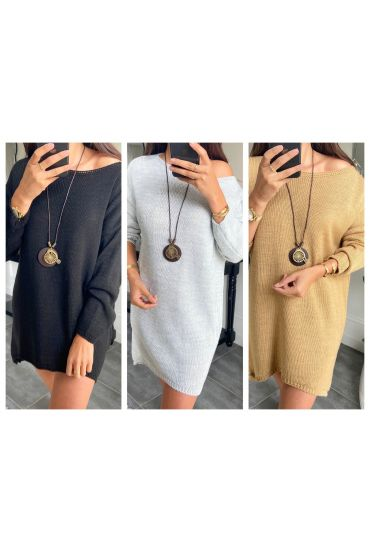 PACK 3 PULLOVERS LONG OVERSIZE + COLLIER 1222