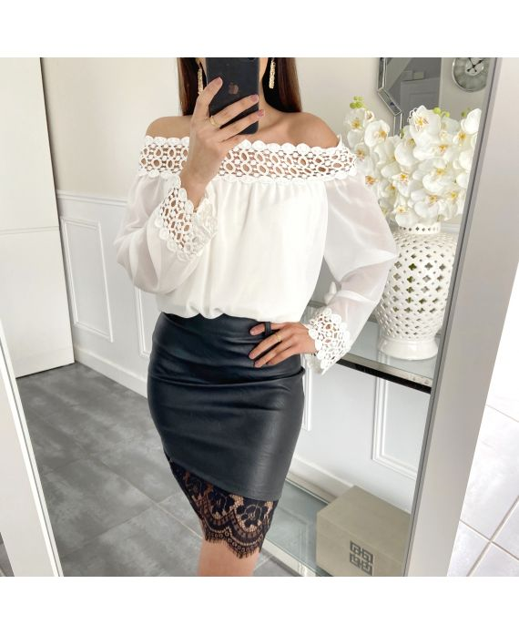 PACK 4 SKIRTS FAUX LEATHER LACE S-M-L-XL 1910
