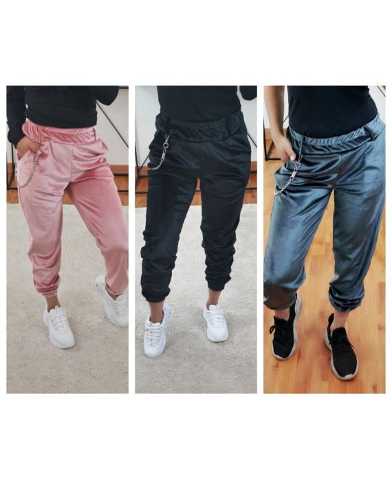 PACK 4 PANTS VELOUR WITH CHAIN 7878