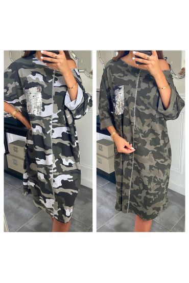 PACK 2 DRESSES OVERSIZE SEQUINS MILITARY 7715
