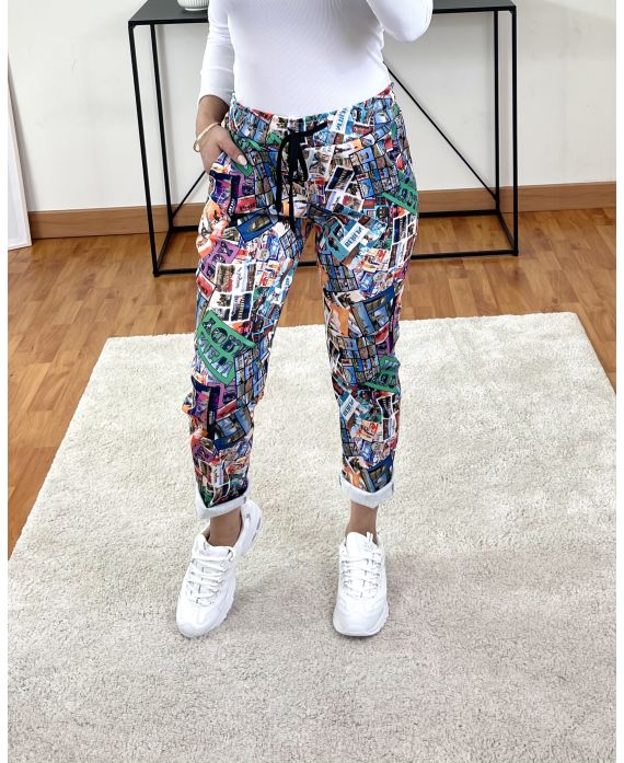PACK OF 2 PAIRS OF PANTS PRINTS 9302I6 PURPLE