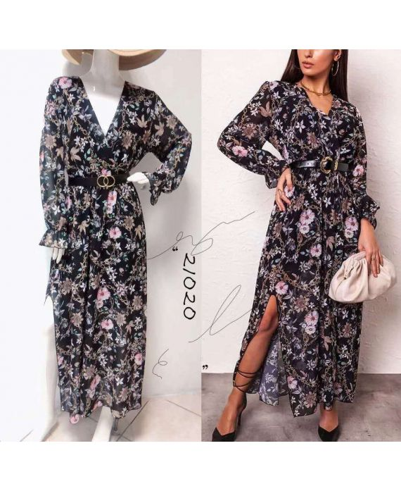 LONG DRESS FLORAL AND CHAIN WITH A BELT 7890