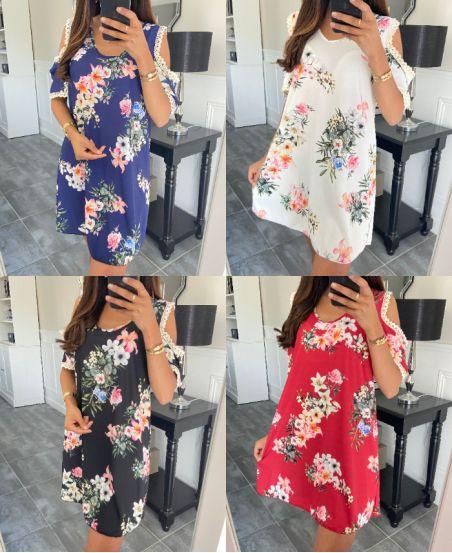 PACK 5 DRESSES FLOWER SHOULDER DENUDEES 6730