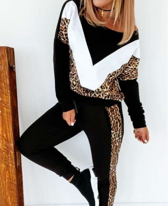 PACK OF 3 SETS PANTS + SWEATER EFFECT ASYMMETRIC COVER LEOPARD 9927