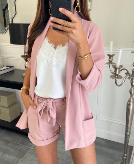 SET JACKET BLAZER + SHORTS PINK 8785
