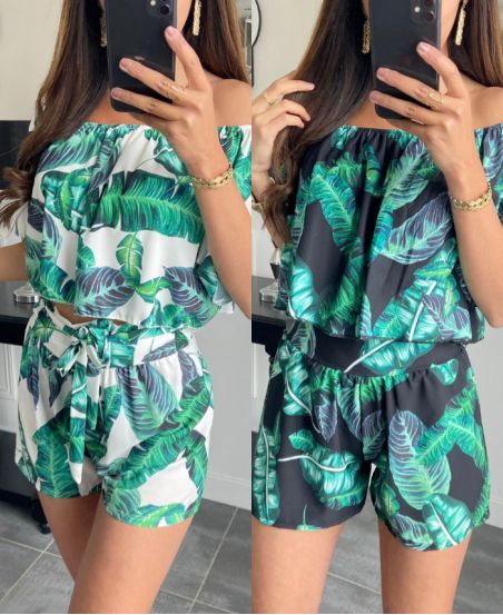 PACK 2 SETS TROPICAL TOP + SHORTS 6735