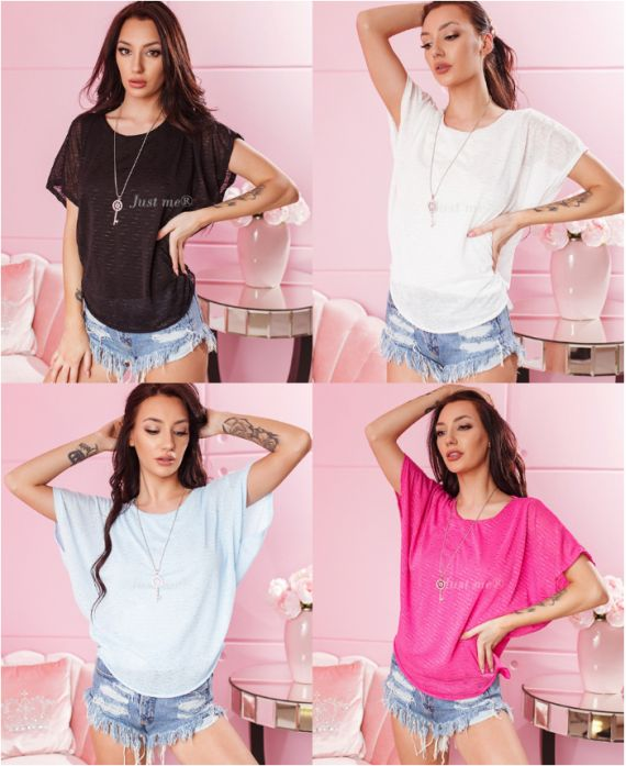 PACK 4 TOPS + NECKLACE 7372