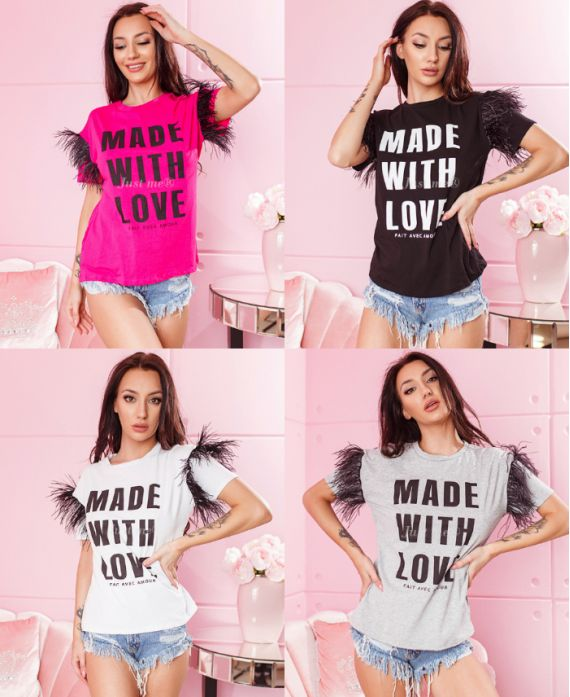 PACK OF 4 T-SHIRT MADE WITH LOVE HAS FRINGES 9945