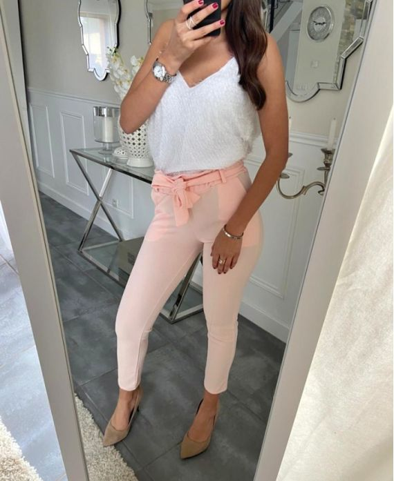 PACK OF 4 STRETCH TROUSERS S-M-L-XL 18066 PINK