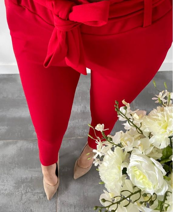 PACK OF 4 STRETCH TROUSERS S-M-L-XL 18066 RED