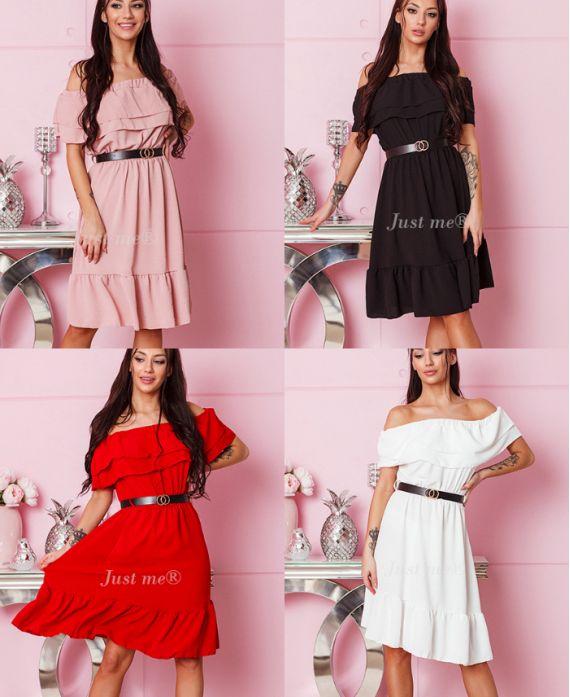 PACK 4 DRESSES SHOULDERS DENUDEES + BELT 1004