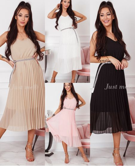 PACK 4 DRESSES PLISSEES + BELT 20146