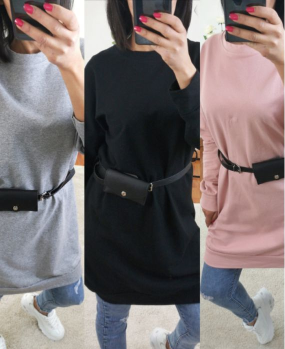 PACK 4 SWEATERS LONG WITH BELT POUCH 2224