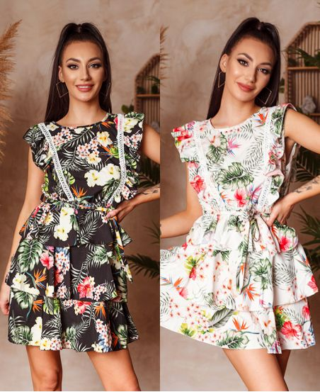 PACK 2 DRESSES FRILLY FLOWERS 1132