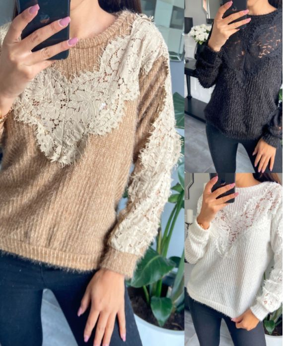 PACK 4 SWEATERS LACE CHEST 9778