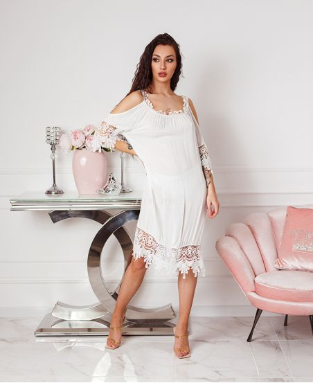 ABITO IN PIZZO SULLE SPALLE DENUDEES 2806 BIANCO