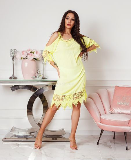 DRESS LACE SCHOUDERS DENUDEES 2806 GEEL FLUO