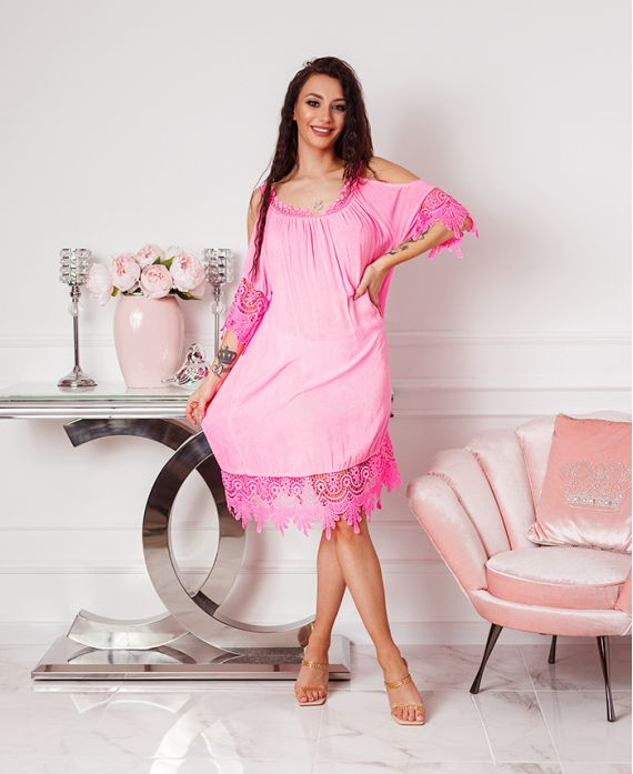 DRESS LACE SHOULDERS DENUDEES 2806 NEON PINK