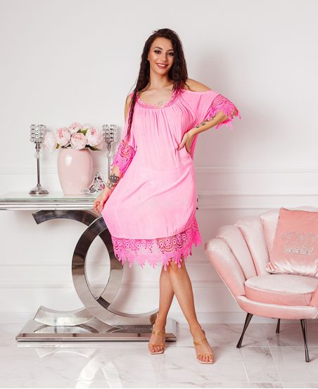 ABITO IN PIZZO SULLE SPALLE DENUDEES 2806 NEON ROSA