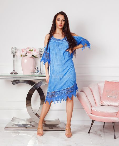 ABITO IN PIZZO SULLE SPALLE DENUDEES 2806 BLU ROYAL