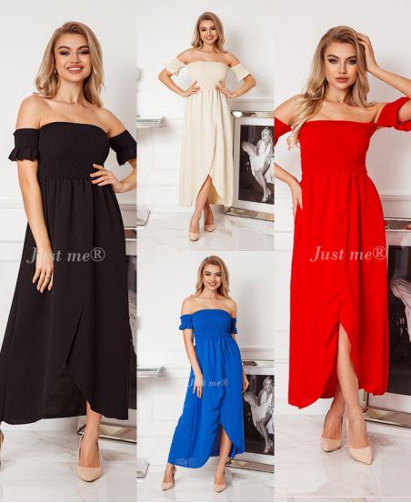 PACK OF 4 ELASTIC LONG DRESSES 6610