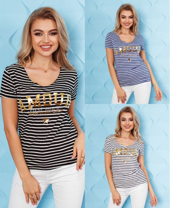 PACK 3 T-SHIRTS RAYES LIEBE 8326