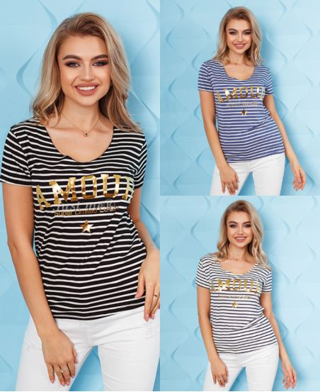 PACK 3 T-SHIRTS RAYES AMOUR 8326