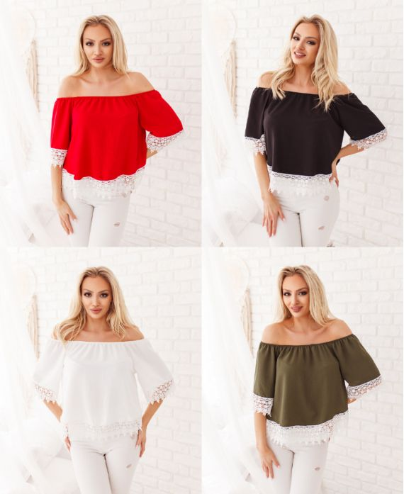 PACK 4 LACE ELASTIC COLLAR TOPS 3929