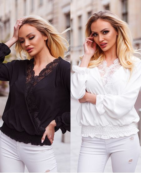 PACK 2 LACE DRAPED BLOUSES 9892