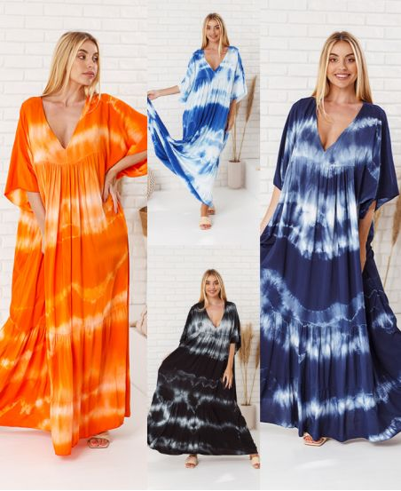 PACK 4 LONG TIE AND DYE DRESSES 6850