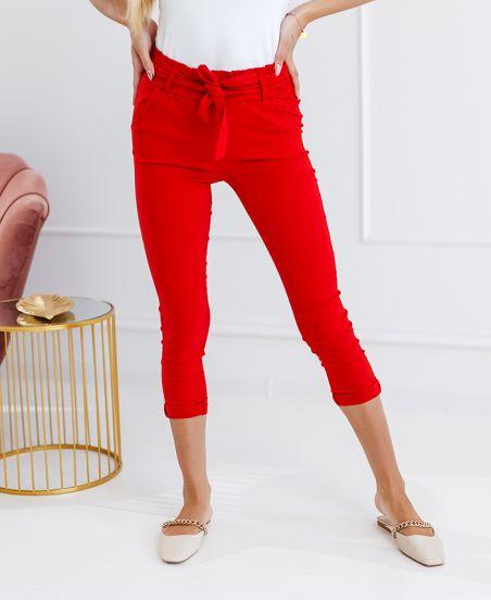 Pakiet 5 spodnie chino S-M-L-XL-XXL p113 czerwone