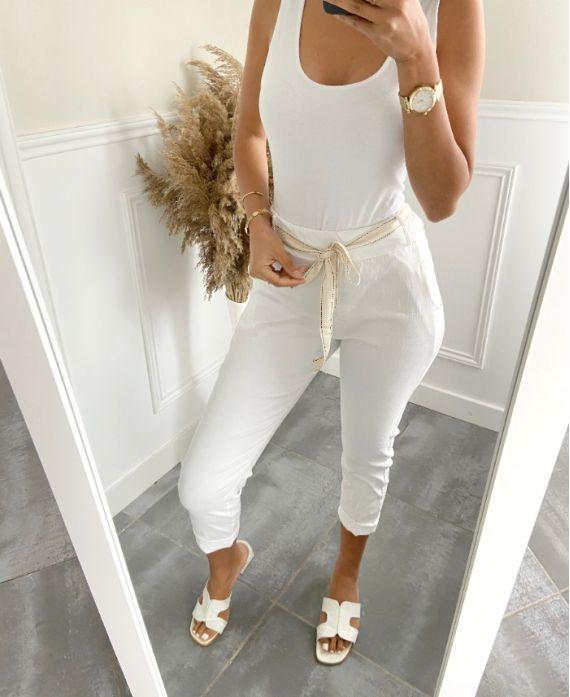 PANTS EFFECT WRINKLES 2823 WHITE