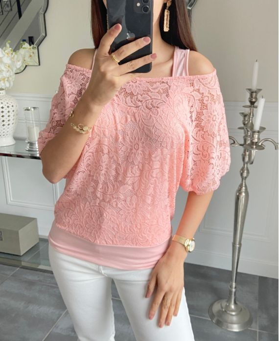 T-SHIRT LACE 2 PIECES IN 1 5532 PINK