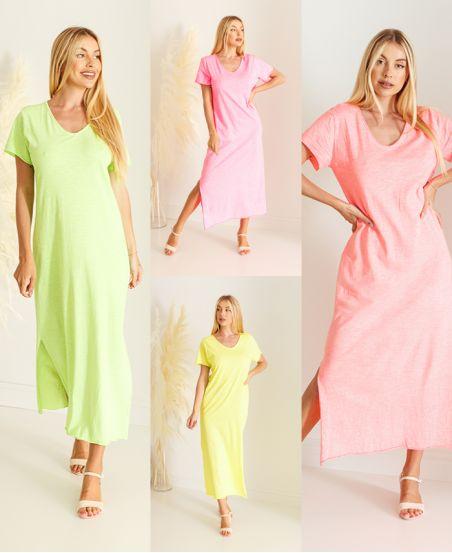 PACK 4 FLUORESCENT COTTON LONG DRESSES 6684