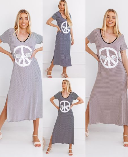 PACK 4 ROBES LONGUES RAYEES PEACE N LOVE 1273