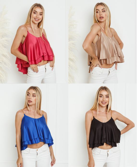 PACK 4 TOPS SATIN CHAINE 0472