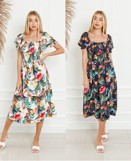 PACK 2 FLOWER BUST ELASTIC DRESSES 0632