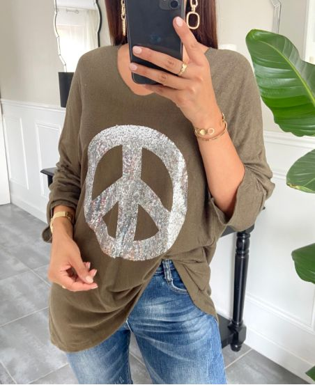 SWEATER LOOSE PEACE AND LOVE 8948 MILITARY GREEN
