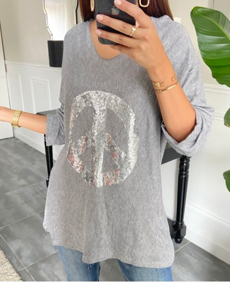 SWEATER LOOSE PEACE AND LOVE 8948 GREY