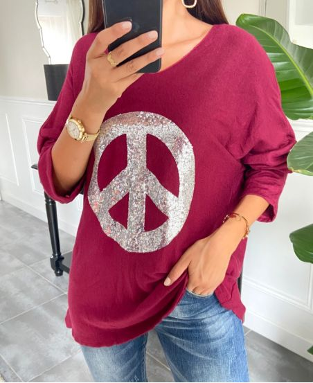 SWEATER LOOSE PEACE AND LOVE 8948 BURGUNDY