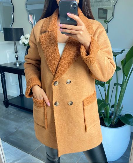 COAT SUEDE AND MOUMOUTE 9256 CAMEL