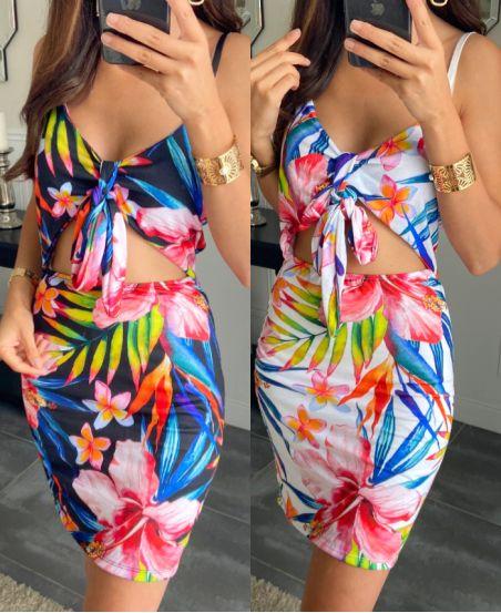 PACK OF 2 DRESSES PRINTED TROPICAL 9565