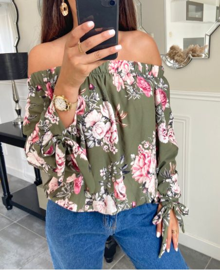 TOP ELASTIC COLLAR FLORAL PATTERN 9625 MILITARY GREEN